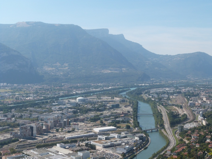 The ESRF viewed from the Fort de Bastille, Grenoble. The synchrotron is the large circular building at the centre of image.